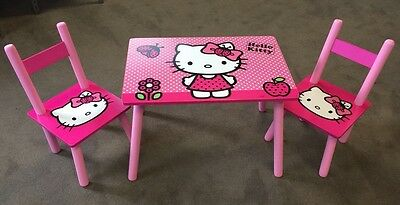 Kids Wood Table and 2 Chairs Set Girls Boys Cartoon Table Set Toddler Furniture