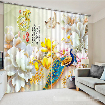 3d Peacock 353 Blockout Photo Curtain Printing Curtains Drapes