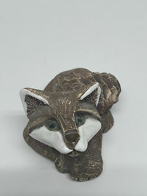 Vintage Laying Gray Fox Stoneware Pottery Figurine Statue Hand Crafted