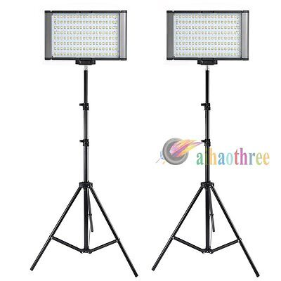 2Pcs VILTROX LED-160T Bi-Color Dimmable T6 LED Studio Video Light + Light Stand