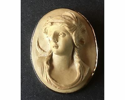Victorian Deep Relief Lava Cameo Goddess of the Night Nyx 10K Gold Frame Brooch