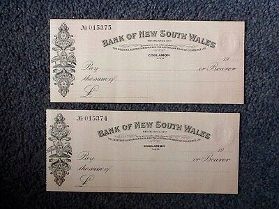 2 Vintage Bank Of New South Wales - Coolamon N.s.w. Cheques