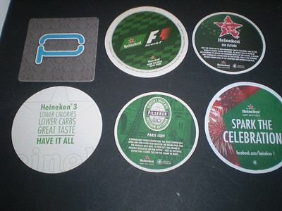 SIX different Heineken Beer Coasters