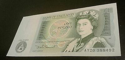 Uncirculated British England Bank Note One Pound Currency Paper Money Britain