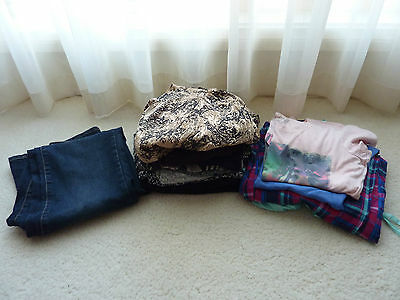 Bulk Lot 13 x Girls Teenager Women's Mixed Clothes Jeans T-Shirts Tops Size 12