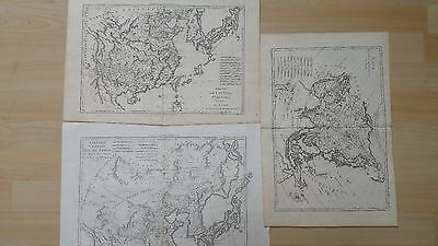 Lot of 4 LARGE 1700s maps by Bonne & Bellin - Asia and China