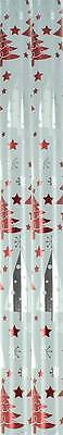 4m (2 x 2m) Metallic Christmas Gift Wrapping Paper Roll - Red & Silver Xmas Tree