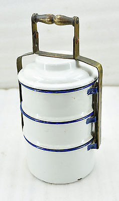 1900s Indian Antique Hand Crafted Brass Enamel Porcelain Tiffin Food Box