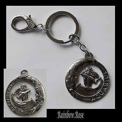 ZODIAC Keyring Pewter AQUARIUS Jan 20 - Feb 18 (40mm) Star Sign Key Chain