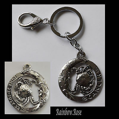 ZODIAC Keyring Pewter CANCER Jun 22 - Jul 22 (40mm) Star SignKey Chain