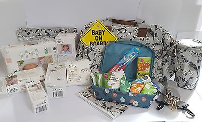 Eco / Organic Pre Packed Maternity Hospital Changing Bag Filled with 19 Products