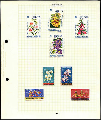 Indonesia Flowers Album Page Of Stamps #V4522
