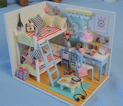 Kits DIY Wooden Dollhouse Bunk bed Doll House LED Light Furniture toy gift girl