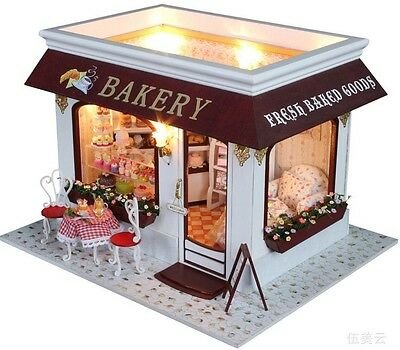 Kits DIY Wooden Dollhouse Cake shop Doll House LED Light Furniture girl GQD056