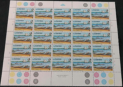 Gambia 1983, 1b River Craft MNH Half A Sheet Plate 1D #V4173