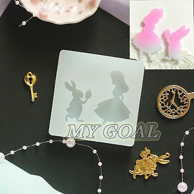 Alice & Bunny Silicone Resin Pendant Mould Jewelry Necklace Handmade Craft Mold