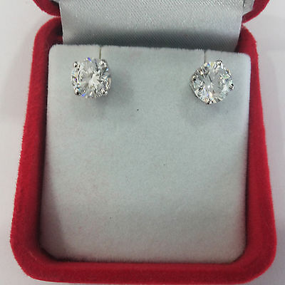1.50 Ct Solitaire Diamond Earrings Solid 14K White Gold Round Cut Earring Studs