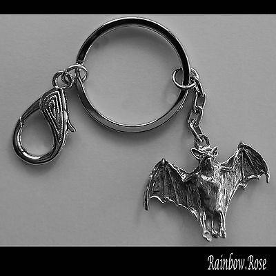 Keyring #133 Pewter VAMPIRE BAT (40mm x 25mm) Keychain Key Ring Chain