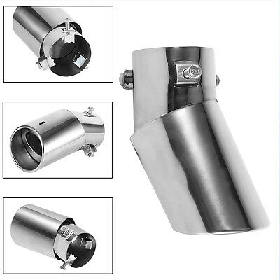 Universal Car Truck Stainless Steel Chrome Exhaust Tail Muffler Tip Pipe Curved