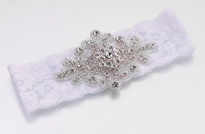 White Lace Wedding Bridal Prom Garter With Jewelled Embellishment One Size