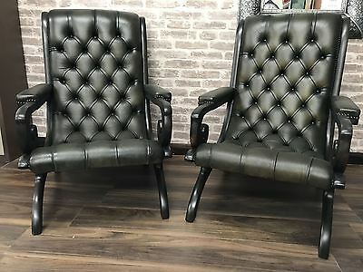 Pair of Vintage Chesterfield Leather Slipper Chairs