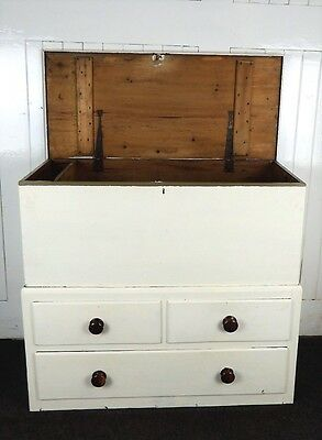 Antique Victorian painted Mule chest / blanket box with drawers
