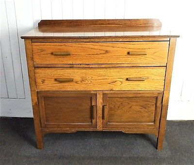 Antique vintage oak millinery cupboard / chest of drawers