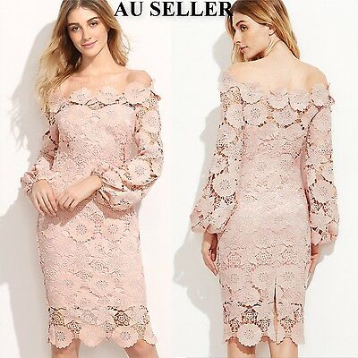 Women Long Sleeve Lace Evening Formal Cocktail Party Ball Prom Bridesmaid Dress