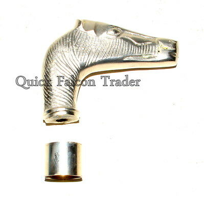 Horse Head Silver Nickel Plated Walking Stick Vintage Wooden Cane Handle