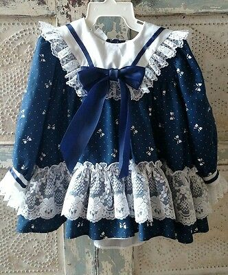 Vintage Navy Blue Bow Lace Dress Girls Size 6-12 mo