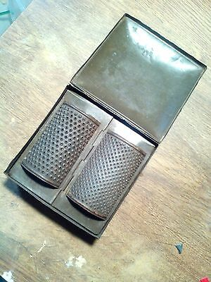 Vintage nutmeg/dry bread graters with case