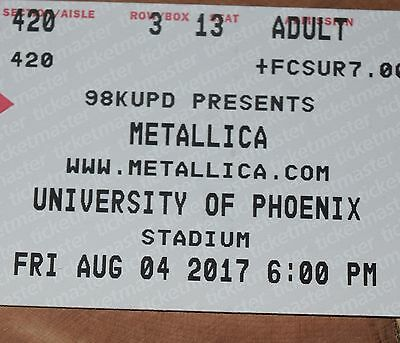 4 Tickets For Metallica At University Of Phoenix Stadium Section 420!!!! Row 3