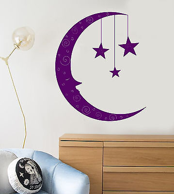 Vinyl Wall Decal Cartoon Moon Face Stars Children's Room Decor Stickers (1381ig)