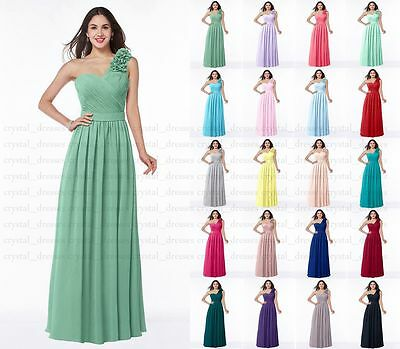 Long Chiffon One-shoulder Evening Formal Party Ball Gown Prom Bridesmaid Dresses