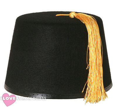 Adult Black Fez Hat With Gold Tassel Moroccan Fancy Dress Costume Accessory