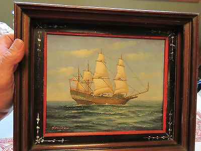 OOB by H. Parker Antique Painting Signed US Sailing Ship