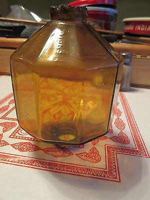 R &S  Yellow/ Honey amber Glass Antique Lightning Rod Ball Paneled