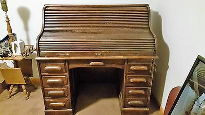 "Antique oak ""S"" Roll top desk Paine Furniture Co. Boston"