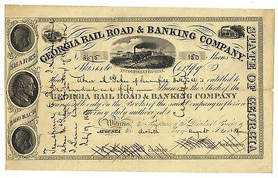 1854 Georgia Rail Road & Banking Company Stock Certificate