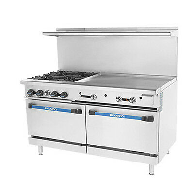 "Turbo Air TARG-4B36G Radiance 60"" Nat Gas Restaurant Range W/ (2) Standard Ovens"