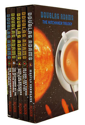 Hitchhikers Guide to the Galaxy Trilogy Collection 5 Books Set Douglas Adam PB