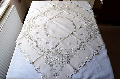 "Beautiful Vintage Madeira Style Hand Embroidered Tablecloth 41"" X 41"""