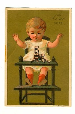 Antique 1880s USE ACME SOAP Victorian Trade Card! Baby in High Chair w Dominoes!