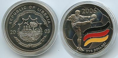 G0358 - Liberia 5 Dollars 2003 Multicolor Fussball 2006