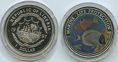 G0370 - Liberia 1 Dollar 1997 Marine Life Protection KM#570 Multicolor Farbmünze