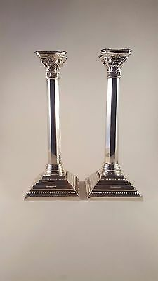 ANTIQUE 20thC LARGE SOLID SILVER PAIR OF CANDLESTICKS, LONDON c.1953