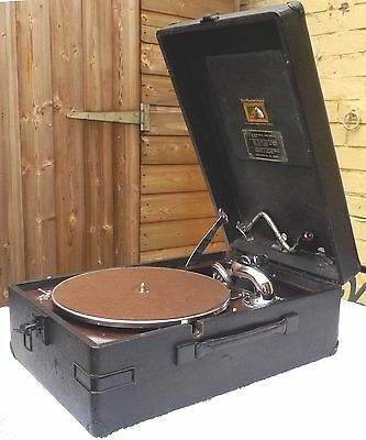 HMV 102D portable gramophone c.1946; fully serviced and ready to use