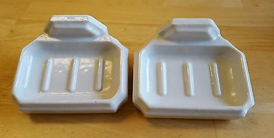 2 - Vintage White Porcelain Wall Mount Bathroom Soap Dishs! L@@K!