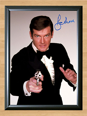 Roger Moore James Bond 007 Signed Autographed A4 Photo Poster Movie Memorabilia