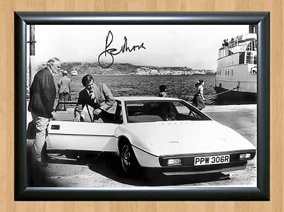 Roger Moore James Bond 007 Lotus Esprit S1 Signed Autographed A4 Photo Poster